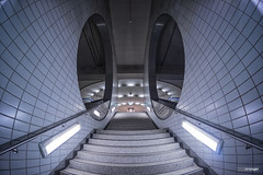 Intermezzo LII (Holger Glaab) Tags: frankfurt subway subwaystation underground stairs staircase color colour lamps fisheye architecture urban city