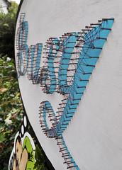 Dreaming of busier times (thread detail) (id-iom) Tags: stencil wood cutout busy thread graffiti streetart urbanart urban sleep sleeping nails paint vandalism streetdrop london street art painting darren sleeper