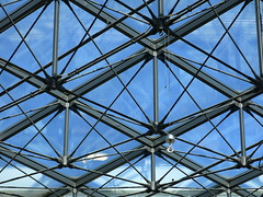construction   reflection (vertblu) Tags: construction glassroof glass rhombs diagonal blue roofconstruction reflections mirroring mirrored geometric geometrical geometry graphical graphic repetition abstractfeel almostabstract abstractstyle vertblu