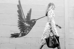 Stap (Luis Alvarez Marra) Tags: bw black white tarragona spain catalonia candid outdoor street streettog tog collecting soul decisve moment hummingbird women graffitti