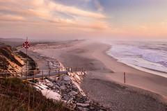 Atlantic Coast (Jannis K) Tags: strand beach meer sea sonnenuntergang sunset calm ruhig welle wave sand portugal canon 5d tamron 2470 ozean himmel sky ocean atlantik küste coast rettungsring entspannung ruhe