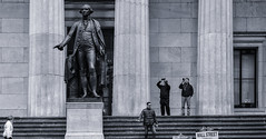 GW on Wall St (PAJ880) Tags: federal hall wall st financial district statue washington tourists cameras columns bw mono manhattan nyc