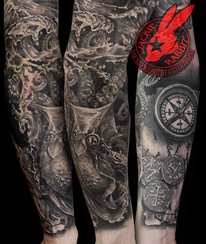 a1e772134 Pirate Ship pirates Black Pearl Galleon Sea Ocean Storm Sky Lightening  Realistic Waves 3D Sleeve Tattoo