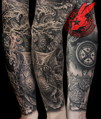 Pirate Ship pirates Black Pearl Galleon Sea Ocean Storm Sky Lightening Realistic Waves 3D Sleeve Tattoo by Jackie Rabbit