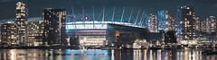 BC Place (lsoaadi) Tags: bcplace vancouver cityscape longexposure bluehour sea ocean highrise residential lightbursts glow reflection purple clouds stadium arena boats marina skytrain condo sports