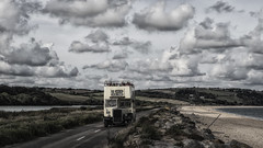 on the omnibus (HHH Honey) Tags: sonyα7ii minimoonixx devon slapton slaptonsands torcross sea seaside beach seascape clouds cloudscape sigma sigma2470lens bus omnibus opentoppedbus desaturated