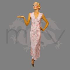 1930s 1940s Floral Print Satin Bias Cut Nightgown (Rickenbackerglory.) Tags: vintage 1930s 1940s floralprint satin bias nightgown nightwear siegel mannequin