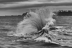 In Meets Out (Mister Oy) Tags: whitby sandsend waves crash crashing meeting fujixpro2 fuji50140mmf28 mono monochrome blackandwhite sea coast yorkshire movement weather power