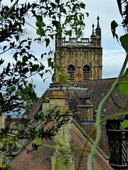 Malvern Priory. (jenichesney57) Tags: malvern priory stone tracery windows panasonic lumix view top tower tiles roofs