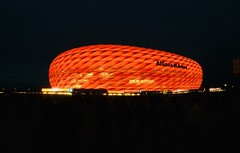 Champions League (frankpro) Tags: night dunkel nacht championsleague led light abend licht sport rot soccer fusball fcb arena stadion munich bavaria germany münchen bayern deutschland