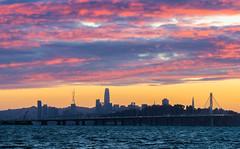 San Francisco Skyline (mswing1) Tags: sunset emeryville marina san francisco skyline sanfrancisco salesforcetower sutrotower baybridge