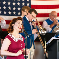 American Swingers (Chancy Rendezvous) Tags: chancyrendezvous davelawler blurgasm swing swingers bigband band musicians singer singing vocalist red white blue american flag trombone instruments redhead