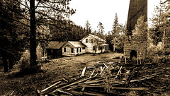 Old Homestead (JarrodLopiccolo) Tags: california markleeville fall photograher trees pinetrees old home fire place blackandwhite sepia outdoor outside house canon 5d