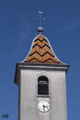 Vriange (39) : clocher comtois (odile.cognard.guinot) Tags: clocher tuilesvernissées bourgognefranchecomté jura 39 clochercomtois églisedelassomption quelestcelieu