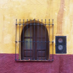 the usual bars and shutters (msdonnalee) Tags: window windowbars woodenshutters utilitybox colonialmexicanarchitecture colonialmexico mexico mexique mexiko messico ventana janela fenster finestra fenêtre