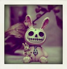 Furry Bones Rabbit figurine (N.the.Kudzu) Tags: tabletop stilllife furrybones rabbit resin figurine canondslr lightroom poladroid lensbabysol45