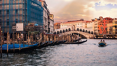 The Grand Canal (Sworldguy) Tags: a73 camera country italy sonya73 venice grandcanal gondola boats rialtobridge ponte sunset bridge architecture water transportation tourism travelphotography travel venezia europe lagoon canals buildings clouds cityscape italia evening