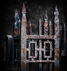 not a warm welcome (marianna_armata) Tags: graveyard cemetary gate fence hff dark metal rust wrought iron mariannaarmata