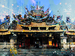 Chaotian Temple (http://www.agatti.com) Tags: east orient south asia china sea island taiwanese folk religious mazu temple religion yunlincounty taiwan old eastern historical extravagantarchitecture building monument landmark landscape scape view panorma scene scenery vista city town urban outdoor sky wonderland culture tourism travel visitors pilgrims digital painting texture layers impression surreal realism splatter stains spots splash drip dripping brush stroke grunge glimpse colorful blue violet red pink