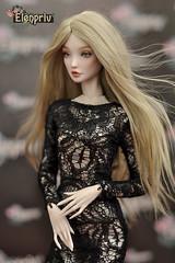 Tender Creation fashion doll in black lace dress by ELENPRIV (elenpriv) Tags: tendercreation fashion doll anna dobryakova elenpriv elena peredreeva handmade clothes dollclothes cestchic