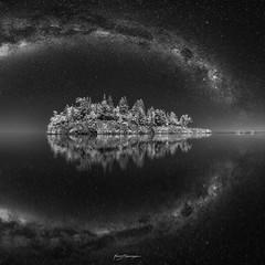 A SPACE ODYSSEY (Nenad Spasojevic) Tags: spasojevic milkyway nenografiacom ellinsonisland sonyalpha splitrockpark splitrock lake blackandwhite white nature infraredlight 830nm reflection nenadspasojevicart bw black shadow evening sony minnesota nenad night aspaceodyssey a7r fineart ir tones water lakesuperior mirror stars infrared shades light monochrome nightphotography chicago illinois il usa