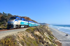 Coasting Along the Cliffs (MikeArmstrong) Tags: san diego coaster commuter trains railroads del mar pacific ocean water cliffs bluffs f59phi