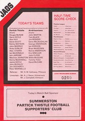 Partick Thistle vs Airdrie - 1983 - Back Cover Page (The Sky Strikers) Tags: partick thistle airdrie airdrieonians scottish league first division firhill park official publication 30p