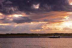finding bait in the morning (Lucky Snap) Tags: sky cloud pentax gold orange fishermen water northcarolina coastal carolinabeachnc