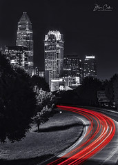 Trailing Charlotte (NYRBlue94) Tags: charlotte northcarolina longexposure light night evening cityscape nightscape lines traffic interstate bridge city building centralave centralavenue
