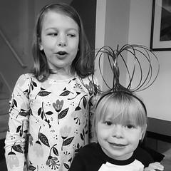 Mornings With The Munchkins (matthewkaz) Tags: madeleine norah daughter daughters child children silly bw blackandwhite home house burcham eastlansing michigan 2018