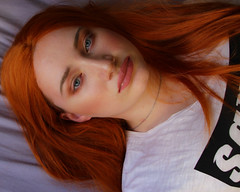 Sleeping beauty (Silje Roos) Tags: photo photography photos portrait photoshoot picture pretty photographys people pale photograph pink orange orangehair makeup model models girl girly woman white wig beauty beautiful blue blueeyes redhair red hair inspiration fashion