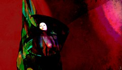 cocoon (Bamboo Barnes - Artist.Com) Tags: cocoon red black green blue light shade face woman secondlife vivid white manipulation digitalart virtualart bamboobarnes surreal