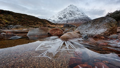 Buachaille Ice Spikes (Pete Rowbottom, Wigan, UK) Tags: scotland landscape buachailleetivemor mountain ice winter rivercoupall snow clouds foreground rocks waterreflections dawn sunrise lpoty2018 peterowbottom uk britain highlands glencoe lowperspective slowshutterspeed icespikes nikond750 wide angle flickr photography dramatic earlymorning landscapephotographeroftheyear takeaview lpotyoverallwinner2018 explored inexplore explore1