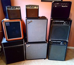 18 Oct 18 Bass amps! (@daz_reynolds) Tags: carlsbro devon exeter home musicroom rumble fender soundfashion kay cube roland mightybass laney combo amplifier amp guitar bass