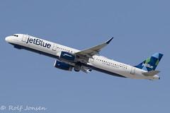 N942JB Airbus A321 Jetblue Los Angeles airport KLAX 12.09-18 (rjonsen) Tags: plane airplane aircraft aviation airliner flying deparure flight sharklets