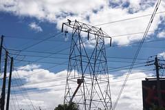 The bravery of hydro workers (beyondhue) Tags: power line damage tornado beyondhue ottawa greenbank repair worker debris canada weather
