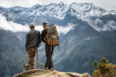 Kesang and Jigme enjoy the magnificent panorama between Keche La pass and Lhedi - Gasa District - Snowman Trek - Bhutan (PascalBo) Tags: nikon d500 asie asia southasia asiedusud drukyul drukgyalkhap bhutan bhoutan འབྲུག་ཡུལ། འབྲུག་རྒྱལ་ཁབ་ snowman trek trekking hike hiking lunana gasa himalaya himalayas jigmedorjinationalpark mountain montagne trekker people outdoor outdoors pascalboegli