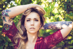 Red Dress (SeanLaine) Tags: sean laine photography chandler thompson red dress canon 6d portraits outdoors fall 2018 fashion model blonde tattoo inked tatted alternative tatts sleeve