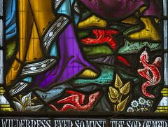 Melton Mowbray, St Mary's church, window detail (Jules & Jenny) Tags: meltonmowbray stmaryschurch stainedglasswindow windowdetail