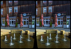 Drinking hole 3-D / CrossView / Stereoscopy / HDRaw (Stereotron) Tags: sachsenanhalt saxonyanhalt ostfalen harz mountains gebirge ostfalia hardt hart hercynia harzgau blankenburg streetphotography bar kneipe altstadt fountain brunnen deutschland germany europe cross eye view xview crosseye pair free sidebyside sbs kreuzblick bildpaar 3d photo image stereo spatial stereophoto stereophotography stereoscopic stereoscopy stereotron threedimensional stereoview stereophotomaker photography picture raumbild twin canon eos 550d remote control synchron kitlens 1855mm 100v10f tonemapping hdr hdri raw quietearth