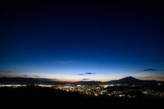 Dawn at small city (kat-taka) Tags: dawn dark shiluette shadow mountain blue sky star