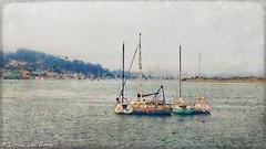 Harbor Series 18 (lorinleecary) Tags: lights manipulatedimage ocean water textured digitalart artography harbor fog boats sanspit centralcoastcalifornia morrobay