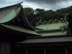 Roof Complex of Hikawa Shrine (Eshke04) Tags: shrine shintoist hikawa religious sacred architecture old traditional historical roof complex saitama japan sky cloud forest shadow light reflection lines curves