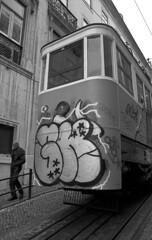 Street car (Manuel Goncalves) Tags: lisbon portugal 35mmfilm blackandwhite streetcar tram nikonn90s kodaktmax400 epsonv500scanner