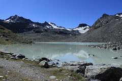 lac du Grand Désert 2642 mètres (bulbocode909) Tags: valais suisse nendaz lacdugranddésert lacs montagnes nature paysages glaciers eau rochers neige bleu