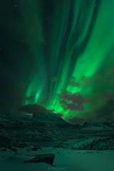Green nights (Ron Jansen - EyeSeeLight Photography) Tags: lofoten norway winter night dark green nordlys northern lights aurora borealis lines curtain snow ice cold mood solar energy arctic