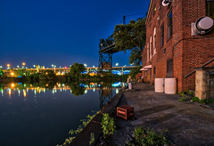 Pretty Gritty City (tquist24) Tags: cleveland clevelandfirestation clevelandfirestation21 cuyahogariver hdr hopememorialbridge nikon nikond5300 ohio outdoor architecture bluehour bridge bridges building city cityscape crate firestation geotagged liftbridge lights longexposure morning reflection reflections river sky tree trees water weeds unitedstates