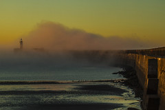 Fog over the breakwater 5 (photoautomotive) Tags: newhaven eastsussex england uk europe sussex sea sky fog water beach goldenlight sunrise sandybeach lighthouse light weather canon 7d 35350l