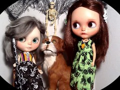 """Blythe-a-Day#10. Spider Webs/Cob Webs: Lacey, Gemma and Barkley: Blythe Swap • <a style=""""font-size:0.8em;"""" href=""""http://www.flickr.com/photos/154461393@N05/44363516295/"""" target=""""_blank"""">View on Flickr</a>"""