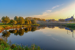 Warm autumn day (donnicky) Tags: saintpetersburg autumn bedroomcommunity blue calm city cityscape clearsky evening goodweather idyllic lake landscape nature outdoor park publicsec reflection sky sunset tranquility trees warm water паркинтернационалистов d850